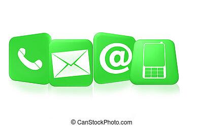 contato, nós, ícones