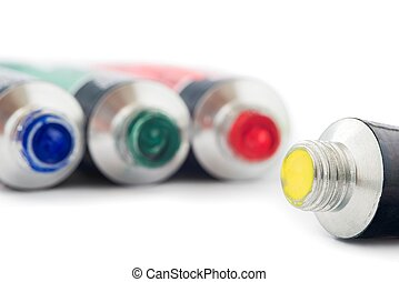 Tempera tubes - Various colored tubes tempera on white...