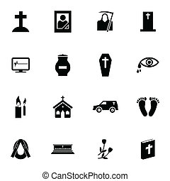 Vector black  funeral icons set on white background