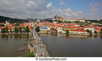 Tourists on Charles Bridge, Prague,Czech Republic - PRAGUE,...