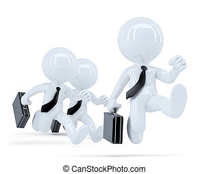 Group of businessmen running. Business concept