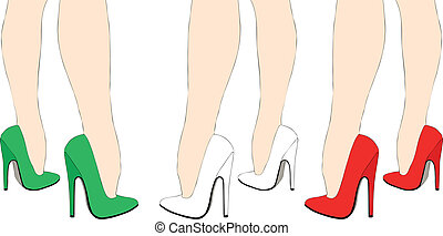 Italian shoes - Illustration of a woman with a very sexy...