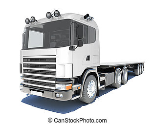 Truck with semitrailer platform Isolated render on a white...