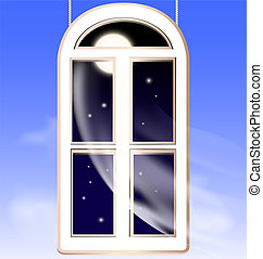 window in the night - abstract nightly sky and window in the...