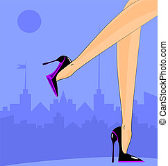 female feet in the city - landscape of abstract city and...