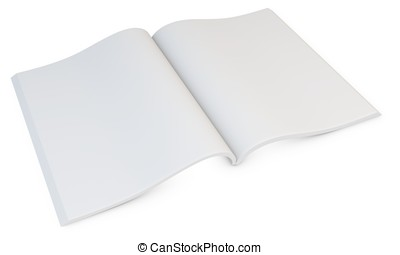 3d blank open magazine on white background