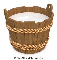 3d wooden bucket with milk