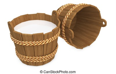 3d wooden bucket with milk and empty