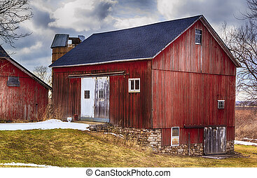 Red Country Barn - Large red bank barn New Roof Crisp colors...