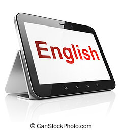 Education concept: English on tablet pc computer