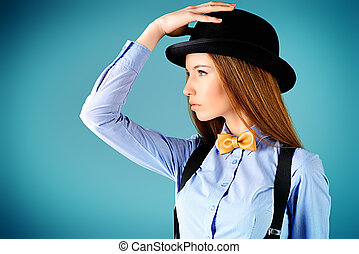 sophistication - Elegant girl model poses in blouse, bow tie...
