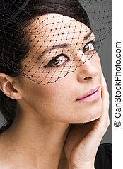 sexy widow - Lovely woman retrowidow portrait closeup