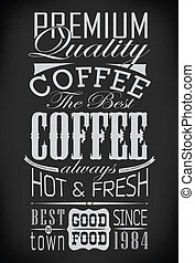 set of coffee labels on chalkboard / vector illustration