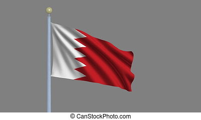 Flag of Bahrain with alpha matte - Flag of Bahrain waving in...