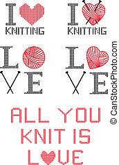 I love knitting, vector set