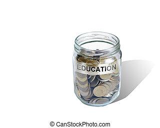 education  savings money in jar