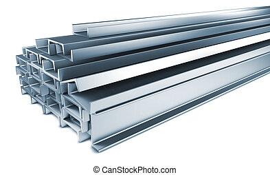 Pile of Steel Channels Isolated on White.