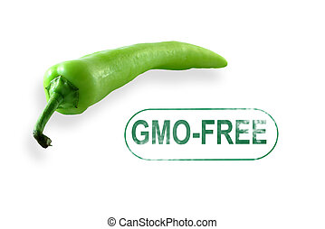 Chili Pepper gmo-free stamp isolated on white