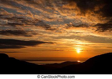 Sunset landscape at lake Balaton, Hungary,