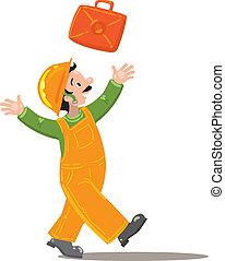 happy worker in jumpsuit throws up a suitcase - a happy...