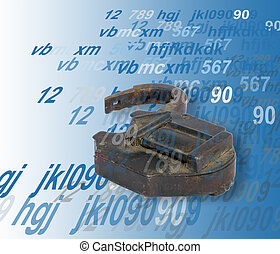 Security concept: opened old padlock on digital background,
