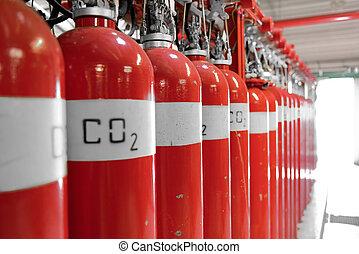 grande, CO2, fuego, extintores