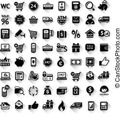 Shopping set, flat black icons