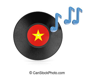 Vinyl disk with flag of vietnam isolated on white