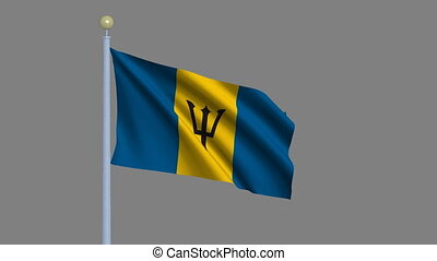 Flag of Barbados with alpha matte - Flag of Barbados waving...