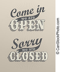 retro open and closed business sign an be used for...