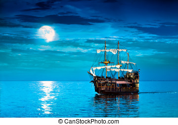 Blue Pirate Ship  - Pirate ship and Full Moon