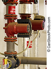 Hot water and steam pipes with pumps