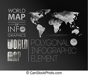 World Map and Information Graphics - Polygonal World Map and...
