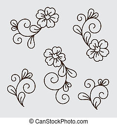 Vector set of flower elements
