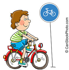 The boy on a bicycle - Goes on a path, there is a road...