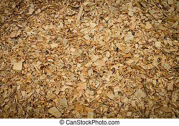 Wood Chips - Wood chips at plywood processing plant