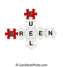 Green fuel 3d puzzle on white background