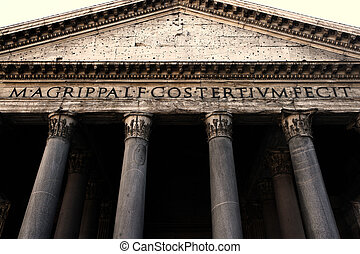 Pantheon facade in Rome - Image of the facade of the...
