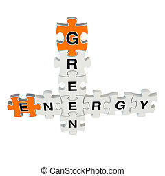 Green energy 3d puzzle on white background