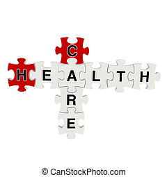 Healthcare 3d puzzle on white background