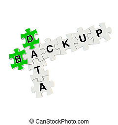 Data backup 3d puzzle on white background