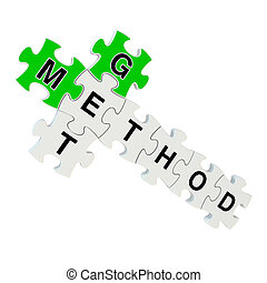 Get method 3d puzzle on white background