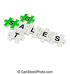 Get sales 3d puzzle on white background