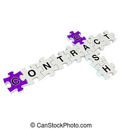 Cash contract 3d puzzle on white background