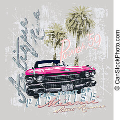 Miami street runner vintage car - vintage car vector for...