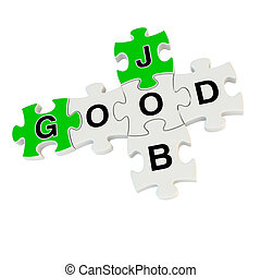 Good job 3d puzzle on white background