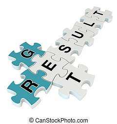 Get result 3d puzzle on white background
