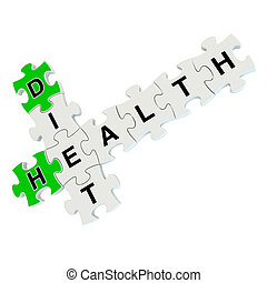 Diet health 3d puzzle on white background