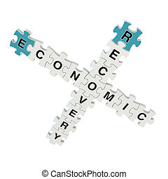 Economic recovery 3d puzzle on white background