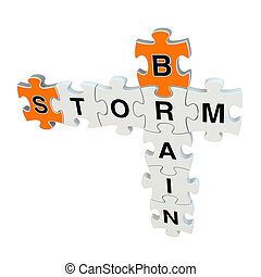 Brain storm 3d puzzle on white background